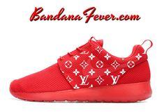 Custom Supreme LV Nike Roshe Run Shoes Red, #fashion, #supreme, #style, #supremelv, by Bandana Fever