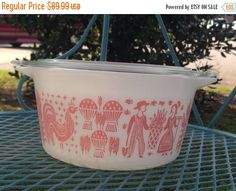 ON SALE Pyrex PINK Butterprint 473 1 Quart Casserole with Lid by thetrendykitchen on Etsy