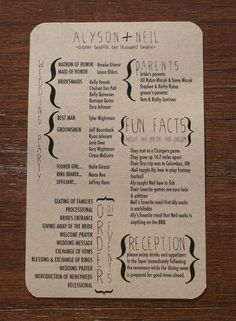 Wedding Program...don't need a program, but fun facts about the bride and groom could be fun for the wedding line