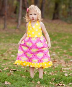 Look what I found on #zulily! Yellow Dragonfly Floral Halter Dress - Toddler & Girls by Beary Basics #zulilyfinds