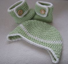 Crochet earflap hat and button-up boot set by UKCraftyMoo on Etsy, $25.00