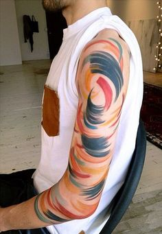 Amazing Color Abstraction Tattoo On Arm ~ Arm Tattoo Ideas #29