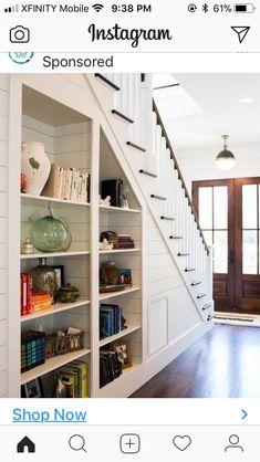 Built ins under the stairs b u i l t n s house stair storage plans Stair Bookshelf, Staircase Storage, Bookshelves Built In, Staircase Design, Built Ins, Under Stair Storage, Extra Storage, Bookcases, Building Bookshelves