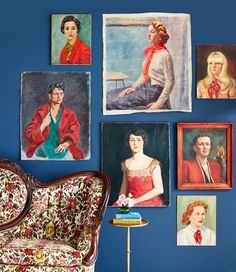 Ladies in Red Gallery Wall The ladies in this curated grouping of vintage oil portraits all have one thing in common: a pop of red. Oil Painting Gallery, Painting Frames, Art Gallery, Gallery Walls, Portrait Wall, Oil Portrait, Colorful Frames, Interior Exterior, Portraits