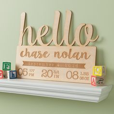 Hello Baby Personalized Wood Plaque - New Baby - Occasion | Personalized Planet