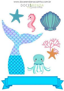 Mermaid Theme Birthday, Ballerina Birthday, Little Mermaid Cakes, The Little Mermaid, Beach Cake Topper, Cupcake Toppers Free, Diy Crafts To Do, Under The Sea Theme, Lilo And Stitch