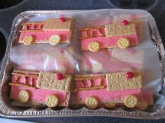 {fire truck snack}... graham crackers, pretzels, red frosting, small ritz