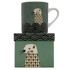 Magpie Dusk Wildlife Otter Mug in Gift Box