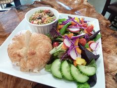 ladies luncheon - trio of salads (chicken salad on croissant, fresh green salad, and pasta salad) Luncheon Recipes, Luncheon Menu, Brunch Recipes, Summer Recipes, Girls Luncheon, Catering Food, Healthy Salad Recipes, Food For Thought, Chicken Salad