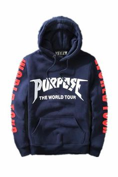 Justin Bieber purpose the world tour plus velvet hooded hedging sweater-blue