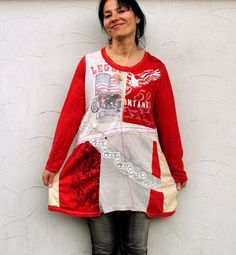 Romantic goth recycled dress tunic shirt. Made from recycled clothing, tshirts and lace. Pop art, hippie boho style. One of a kind.  Size free : M-XL