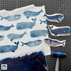 Stamping some whales to make a linen tote bag this morning