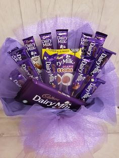 Our Dairy milk bouquet is Available to order in many colour combinations Cadbury Chocolate Bars, Dairy Milk Chocolate, Chocolate World, Love Chocolate, Chocolate Lovers, Chocolate Desserts, Sweet Cart Hire, Sweet Carts, Chocolate Crafts