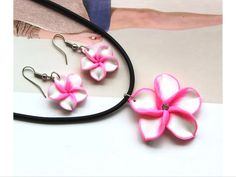 Hawaii Flower Polymer/Clay Necklace/Earrings Set