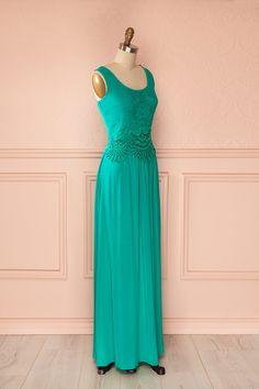 Robe longue bleu-vert buste brodé dentelle col rond dos ouvert - Long blue-green dress embroidered bust lace round neck open back