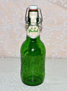 Grolsch Lager Green Beer Bottle Vintage Embossed Green by WVpickin