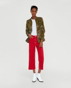 Image 1 of JEANS HIGH WAIST CULOTTE VERMONT RED from Zara