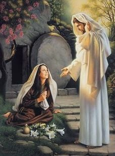 "John 20:15   ""Woman,"" he said, ""why are you crying? Who is it you are looking for?"" Thinking he was the gardener, she said, ""Sir, if you have carried him away, tell me where you have put him, and I will get him.""    14   John 20:16   Jesus said to her, ""Mary."" She turned toward him and cried out in Aramaic, ""Rabboni!"" (which means Teacher)."