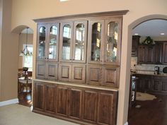 Hutch built into wall between kitchen and gathering room