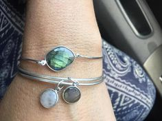 """Life Boho Sterling Silver Bangle Bracelets, Semi-precious stones Sterling Silver bangle, Labradorite Bangle, Moonstone Bangle FREE SHIPPING  Handforged Sterling Silver Bangles inclue a Sterling Silver Connector link which includes a gemstone Sterling Silver. The bangle is 8"""", however if you'd like to special order a different size, please email me.  These bangles include a clasp on one side.  These bangles stack well with any simple band or woven bracelet.  These are nice for both daily and…"""