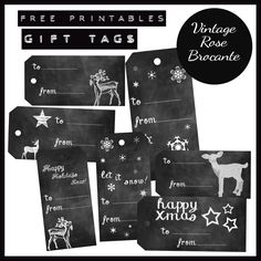 Holiday Gift Tags / free / from Vintage Rose Brocante {Chalkboard Theme}
