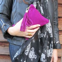 "Royal pink suede clutch dimensions: Height unfolded ; 6 1/4"" Width; 8"""