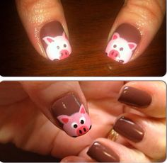 Pig nails! Pig Nail Art, Pig Nails, Turtle Nails, Animal Nail Designs, Nails For Kids, Dipped Nails, Little Pigs, Easy Nail Art, Manicure And Pedicure