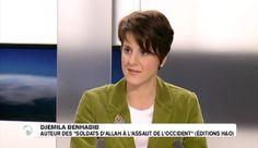 """Djemila Benhabib sur TV5 Monde le 1er novembre 2012, pour présenter son essai """"Les soldats d'Allah à l'assaut de l'occident"""" (édts HO 2012)."""
