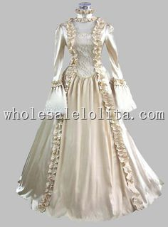 ... Color: Champagne Sleeves: Long Sleeves Length: Floor Length Material: Taffeta, Lace Specific: Ruffle Occasion: Versatile Includes: Dress, Hoopskirt
