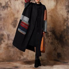 Luxury black woolen coats oversize maxi coat o neck patchwork woolen outwear