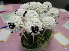 Lamb cake pops for baby shower centerpiece