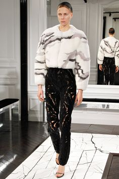 Balenciaga Fall 2013 RTW - by Alexander Wang- Fur Camo Coat