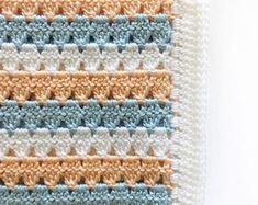 Modern Peach and Blue Granny Blanket Crochet Pattern - Daisy Farm Crafts