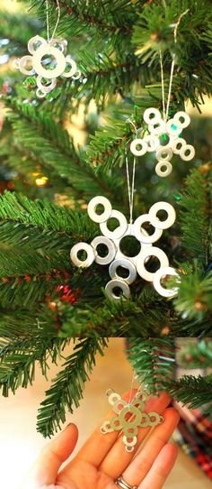 Use small washers from the hardware store to make these cute DIY star ornaments - kids will love making them with you!
