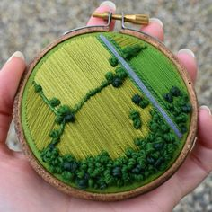 Aerial Embroidery Showcases the Hidden Patterns of Cultivated Farmland – Handstickerei Embroidery Hoop Art, Cross Stitch Embroidery, Embroidery Patterns, Hungarian Embroidery, Creative Embroidery, Simple Embroidery, Embroidery Jewelry, Diy Broderie, Thread Painting