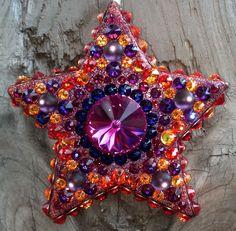 """Electric Daisy Daydream"";  Cosmic Clay by Spirit Spellweaver --Clay & Swarovski Crystal Star Pendant. Sold."