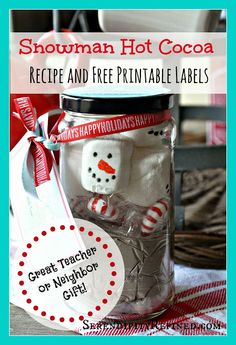 Christmas Mason Jar Hot Cocoa Gift and Printable - Serendipity Refined