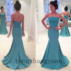 Sexy Mermaid Evening Dresses For Women Formal Gowns 2017 Strapless Off-Shoulder