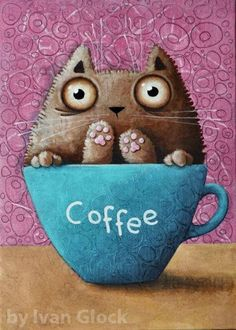 Cat in cup Kitchen Picture Print of original painting Modern Art Prints, Fine Art Prints, Canvas Prints, Black Acrylic Paint, Kitchen Pictures, I Love Coffee, Print Pictures, Design Crafts, Cat Art