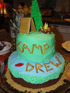 "Photo 7 of camp out / Birthday ""Camp Drew- Drew's Birthday"" 10th Birthday, Birthday Party Themes, Birthday Ideas, Birthday Cakes, Camping Cakes, Camping Meals, Camping Parties, Camping Theme, Party Cakes"