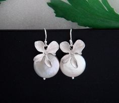Orchid Coin Pearl Earrings STERLING Silver Orchid by hotmixcold, $28.00