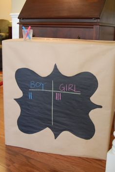 Gender Reveal Party {Guests make guesses about the gender of the child, tallies are made and once everyone has guessed the mother and father open the box which has either pink or blue balloons, suprise!}