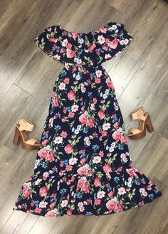 Bev OS Floral Maxi Floral Maxi, Off The Shoulder, Summer Dresses, Cat, Casual, Collection, Fashion, Outfits, Moda