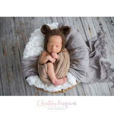 Crocheted newborn bear beanie