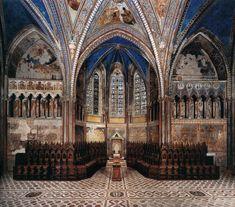 Vista del transepto y ábside desde el lado Este de la Basilica San Francisco de Asís. Afrescos del Cimabue 1277 - 80. Las escenas de la vida de la Virgen en el ábside de la iglesia superior representan el primer gran programa dedicado a María en la historia de la pintura italiana. Cenni di Pepo Cimabue (Florencia; 1240 - Pisa; 1302) fue un pintor y creador de mosaicos florentino. Se le considera iniciador de la escuela florentina del Trecento.