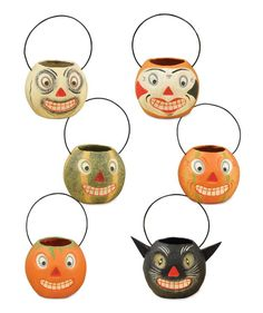 Mini Vintage Halloween Bucket | Paper Mache Halloween Buckets. Halloween Nut Cups. Monster, Ghost, Clown, Cat, Gourd, Ghost Decorations.