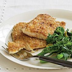 A coating of ground nuts and panko yields crunchy texture in this Pecan-Crusted Trout recipe.