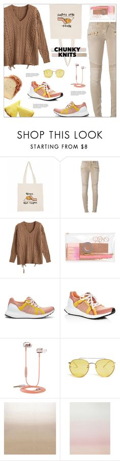 """""""Summer Collapsed Into Fall #chunkyknits"""" by vicky-lavinia ❤ liked on Polyvore featuring Balmain, adidas, Samsung, 21 Men, White Label, Designers Guild and Sandberg Furniture"""
