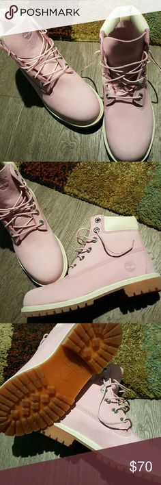 Light pink Timberlands. Size 6 run big.  Worn once. In excellent condition! Timberland Shoes Combat & Moto Boots