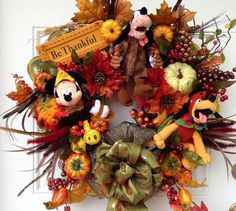 Disney Thanksgiving Wreath with Mickey by SparkleForYourCastle, $209.00